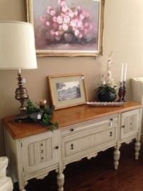 Exceptional antique buffet; assorted accessories