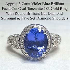 Jewelry Gold Three Carat Tanzanite Ring Diamond Surround And Pave Cut Shoulder