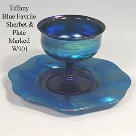Glass Tiffany Blue Favrile Sherbet And Plate