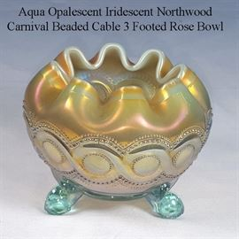 Glass Carnival Aqua Opalescent Northwood Beaded Cable Rose Bowl