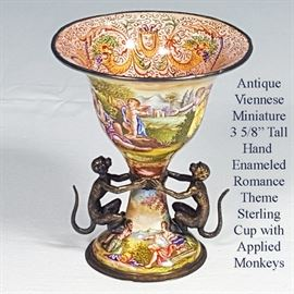 Sterling Viennese Miniature Hand Enameled Urn With Monkeys A