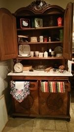 BEAUTIFUL CIRCA 1850'S WOOD HUTCH W/MARBLE TOP AND PULL OUT BREAD BOARD