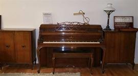 Steinway upright piano, matching music storage cabinets