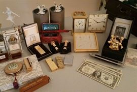 Matthew Norman carriage clock, Marshall Field's desk clocks, silver certificates, lighters, more