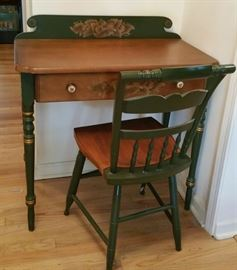 Hitchcock writing desk and chair