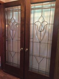 Antique Leaded 1/2 inch Beveled Glass French Doors