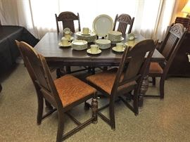 Jacobean Dining Set includes Table & 6 Chairs