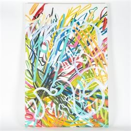 """Keep Dancing II"" by Susan Bishop: A painting titled Keep Dancing II by Susan Bishop. This painting is composed of a multicolored graffiti inspired designs over white. It is acrylic on canvas and is signed in the bottom corner."