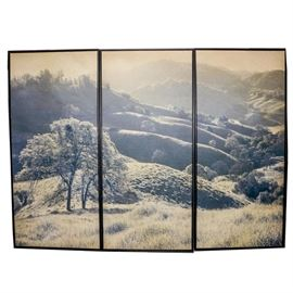 Print on Canvas Triptych Wall Art: A print on canvas triptych wall art. This print is composed of three parts depicting a hilly landscape in black and white. It is printed on canvas and the frame is wooden.