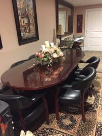 Conference table with six chairs and glass top