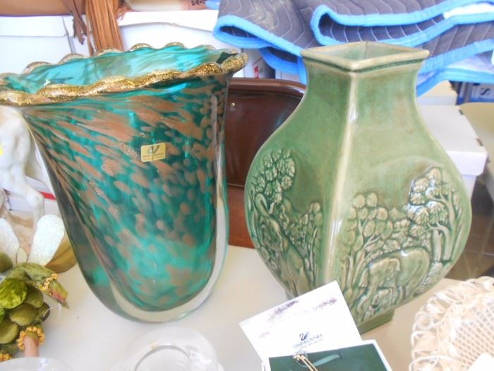 Vase on the left is sold. Vase on the right has an Elephant scene on each side. Thailand.