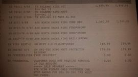 Receipt for Bed Frame and Mattress
