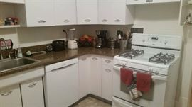 dishes, cookware, small kitchen appliances