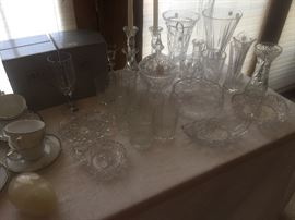 Crystal vases and glassware
