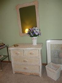 Dresser and mirror for wicker bedroom set