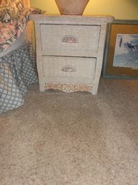 Side table for wicker bedroom set