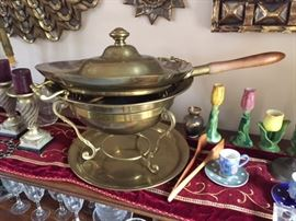 Large solid brass serving chaffing dish