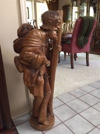 One of three wood carving from South America approx 3' high