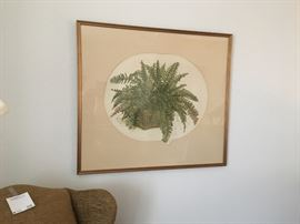 Fern etching, signed