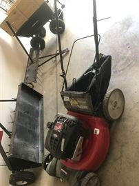 #39 Yard machine 21 inch 190 CC push mower $100 #41 Craftman Aerator $75 #42 Aerator for mower $75