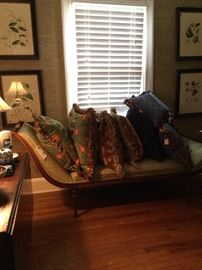 Day Bed with numerous custom feather/down pillows