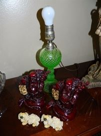Antique glass lamp & various colorful decorator pieces