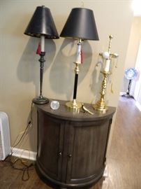 Console table & lamps