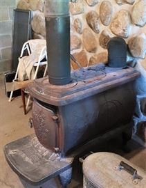 Red Wood Cast Iron Stove