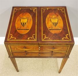 "George III Period inlaid mahogany ""Beau Brummell"" dressing table, late 18th century."
