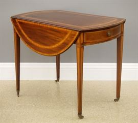 George III Period inlaid mahogany Pembroke table, late 18th century.