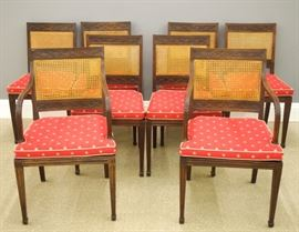 French mahogany Directoire Period dining chairs, early 19th century, set of eight.