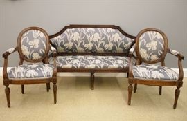 French Louis XVI style walnut salon suite, late 18th century.