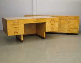 "Paul Evans ""Scene Two"" Desk by Henredon, 90"" Credenza and 70"" x 34"" Desk, in Burl Olive Wood"