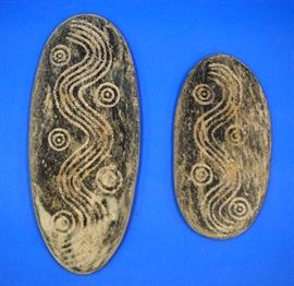 Lot 88-9:  Two Aboriginal carved stone Sacred Amulets (Tjuringas)