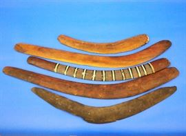 Lot 88-74:  Southeast Asian Islands Aboriginal Wooden Boomerangs, One With Polychrome Decoration
