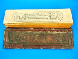 Lot 88-2:  Nepalese Book of the Dead, with Carved and Polychrome Wood Covers and Multiple Printed Loose Leaves