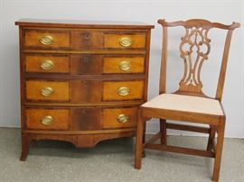 American Cherry Bow Front Chest and Chippendale Chair