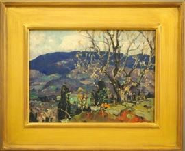 Frank Swift Chase (American, 1886-1958).  Oil painting, likely depicting the Catskills of Woodstock, New York.