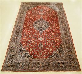 Kashan Persian wool carpet, 10.7 x 17.8', mid 20th century.