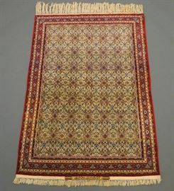 Extremely fine part silk Isfahan Persian rug by S. Seirafian, 5.2 x 7.5', mid 20th century.