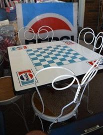Original Porcelain Pedestal Pepsi Table & Chairs, This is the only one that is not a cardboard table it is a Pedestal Table