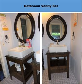 Set of 2 vanity pedestal sink sets with matching oval mirrors