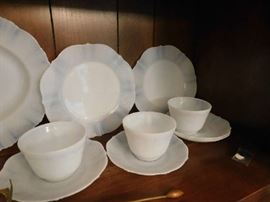 Opalescence Sweetheart milk glass dishes