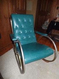WOODARD, MID-CENTURY LEATHER AND CHROME ROCKING CHAIR