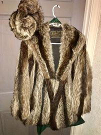 Alaskan raccoon coat and hat