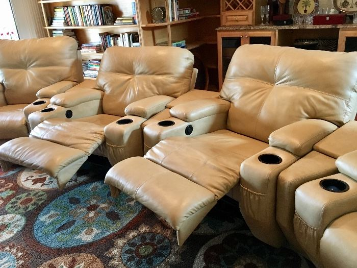 Southern Motion electronic reclining leather theater chairs, set of four