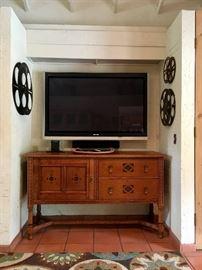 "Antique Buffet - Hutch also available. Panasonic 58"" Plasma HD TV"