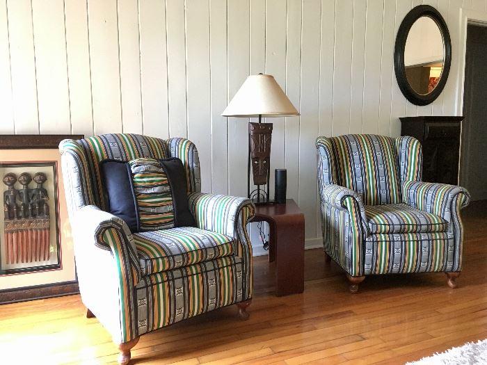 Pair Designer Wing Chairs