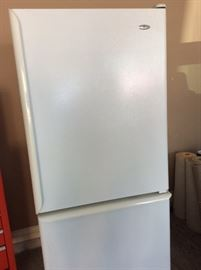 Amana refrigerator with bottom freezer drawer, white