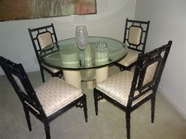 Mid Century Dining Table with Bamboo Lacquer Chairs